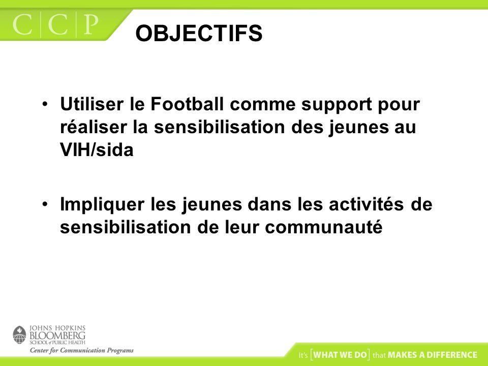 OBJECTIFS Utiliser le Football comme support pour réaliser la sensibilisation des jeunes au VIH/sida.