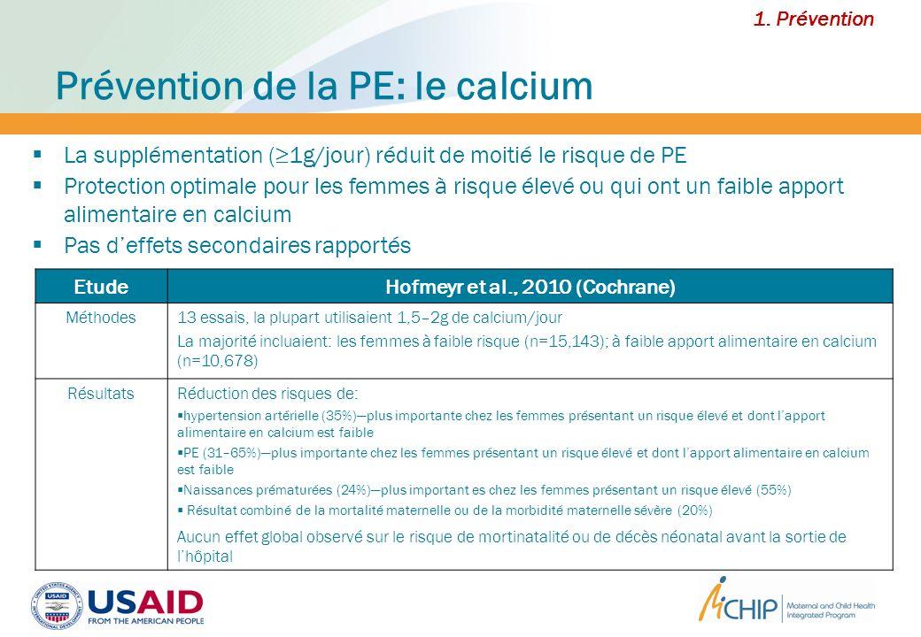 Prévention de la PE: le calcium