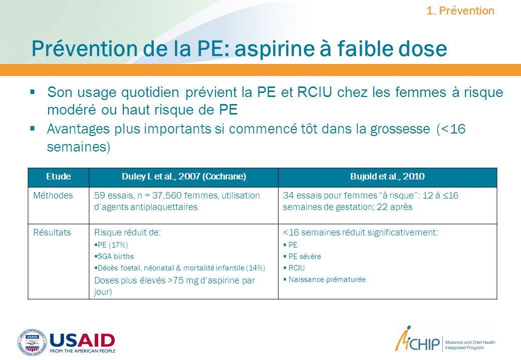 Prévention de la PE: aspirine à faible dose