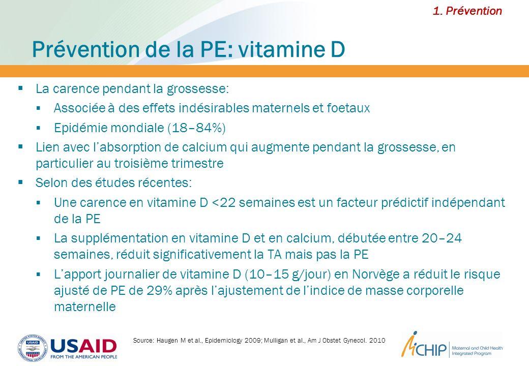 Prévention de la PE: vitamine D