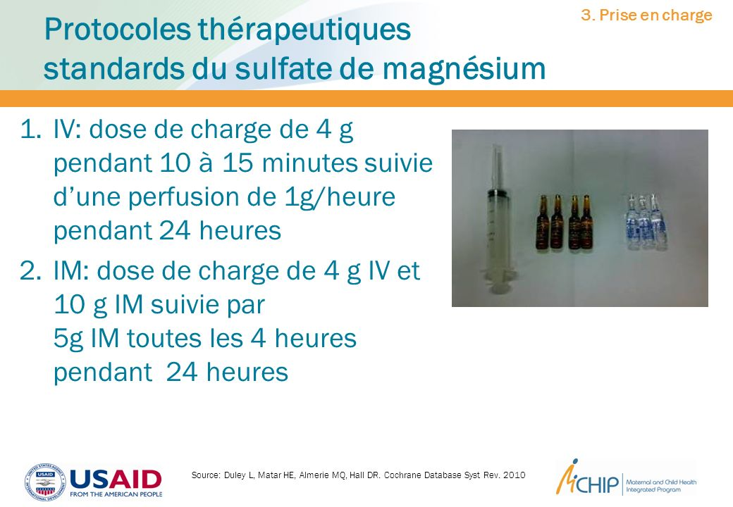 Protocoles thérapeutiques standards du sulfate de magnésium