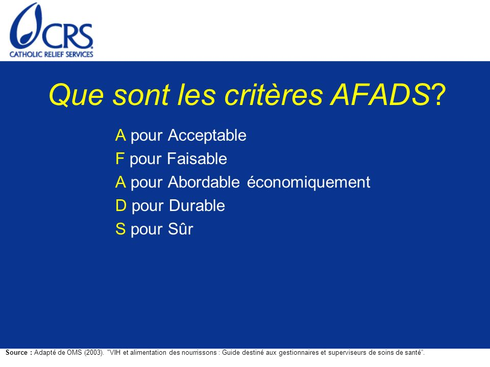 Que sont les critères AFADS