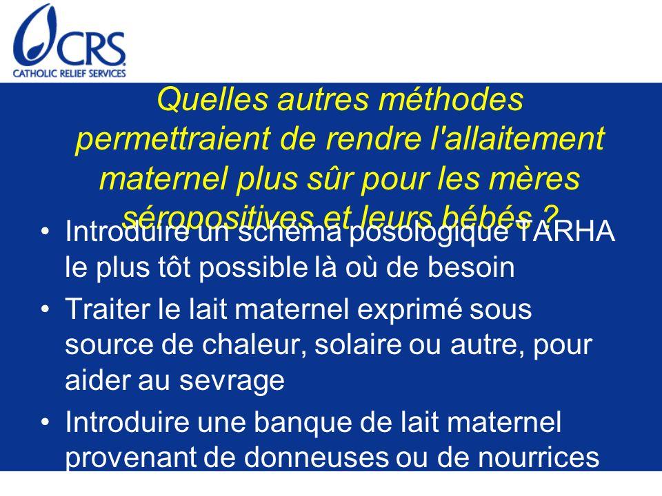 Quelles autres méthodes permettraient de rendre l allaitement maternel plus sûr pour les mères séropositives et leurs bébés
