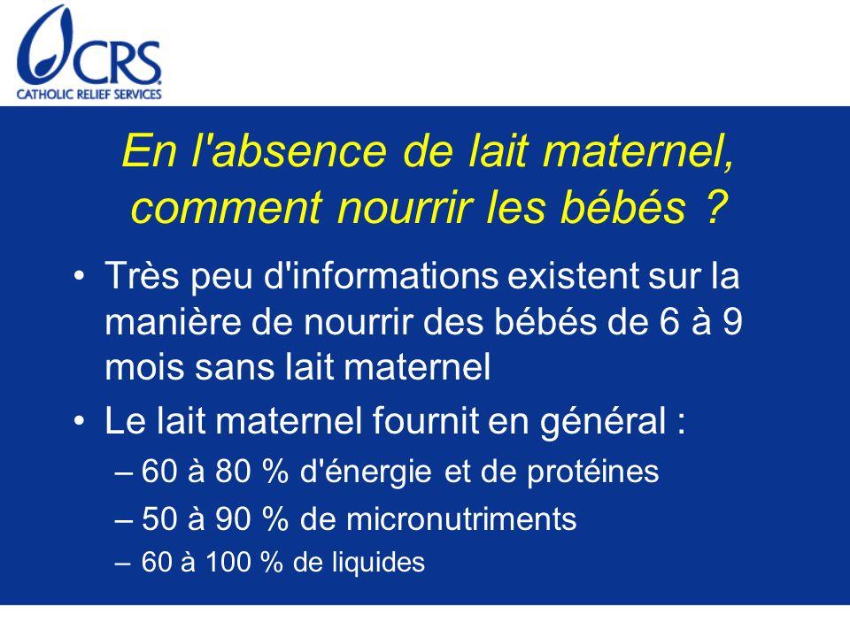 En l absence de lait maternel, comment nourrir les bébés