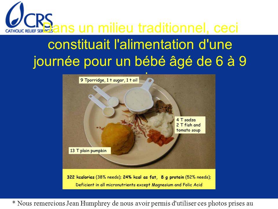 Dans un milieu traditionnel, ceci constituait l alimentation d une journée pour un bébé âgé de 6 à 9 mois