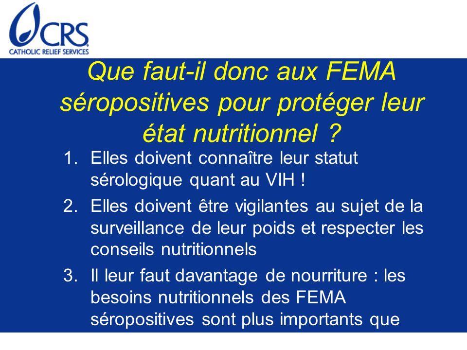 Que faut-il donc aux FEMA séropositives pour protéger leur état nutritionnel