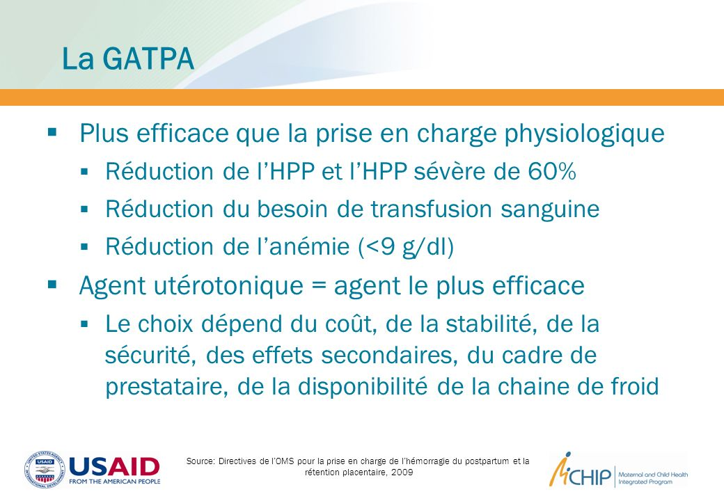 La GATPA Plus efficace que la prise en charge physiologique