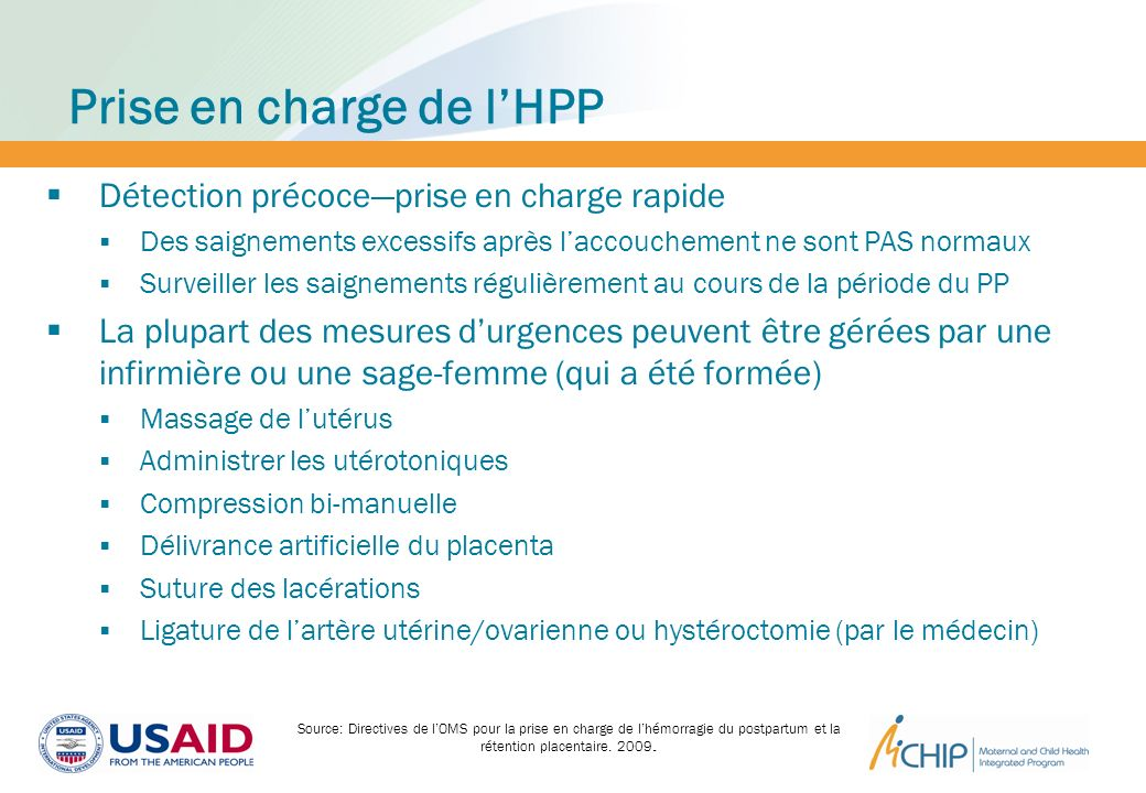Prise en charge de l'HPP