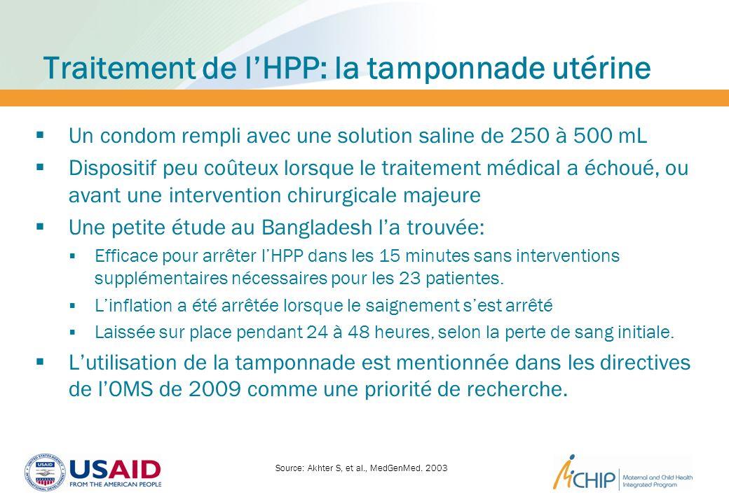 Traitement de l'HPP: la tamponnade utérine
