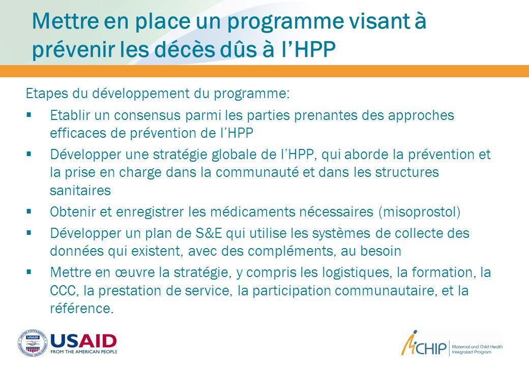 Mettre en place un programme visant à prévenir les décès dûs à l'HPP