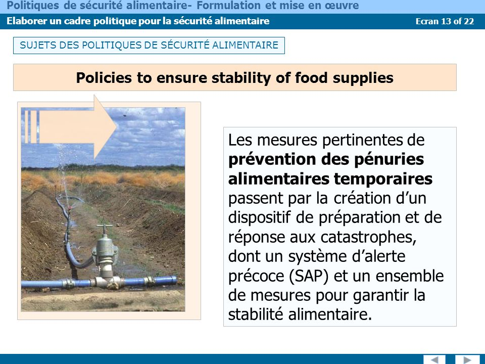 Policies to ensure stability of food supplies