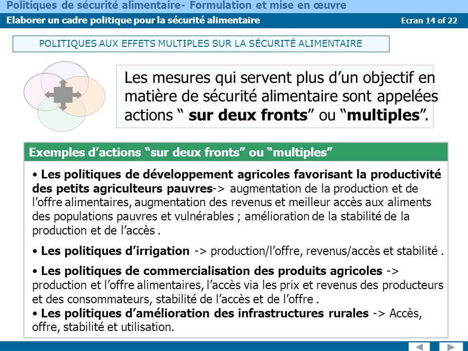 POLITIQUES AUX EFFETS MULTIPLES SUR LA SÉCURITÉ ALIMENTAIRE
