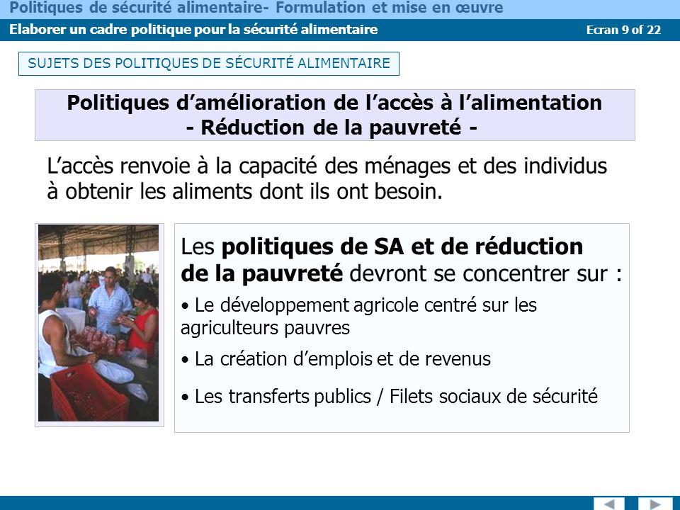 SUJETS DES POLITIQUES DE SÉCURITÉ ALIMENTAIRE
