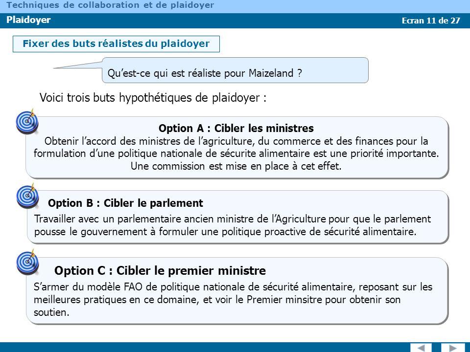 Option A : Cibler les ministres
