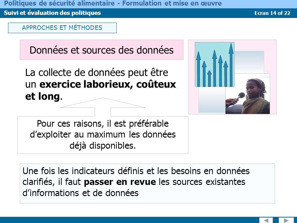 Données et sources des données