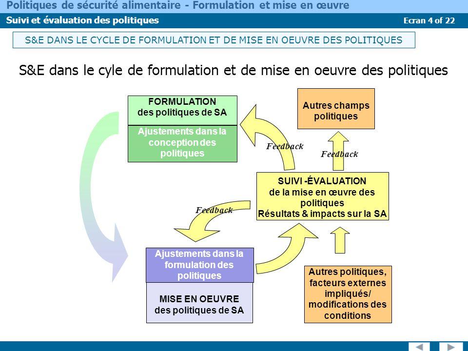 S&E dans le cyle de formulation et de mise en oeuvre des politiques