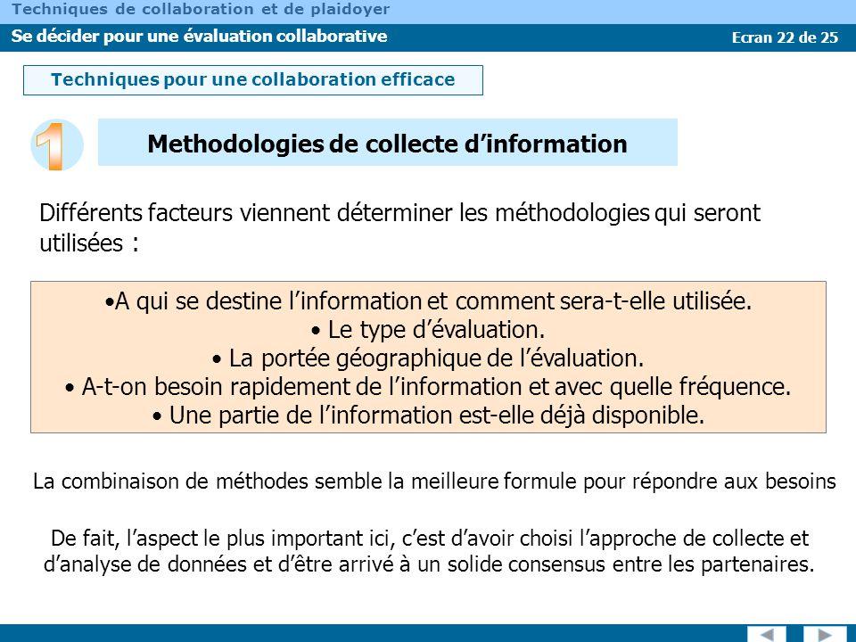 1 Methodologies de collecte d'information
