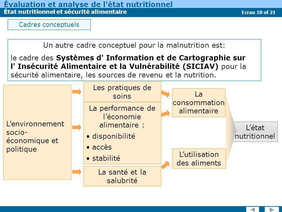 Un autre cadre conceptuel pour la malnutrition est: