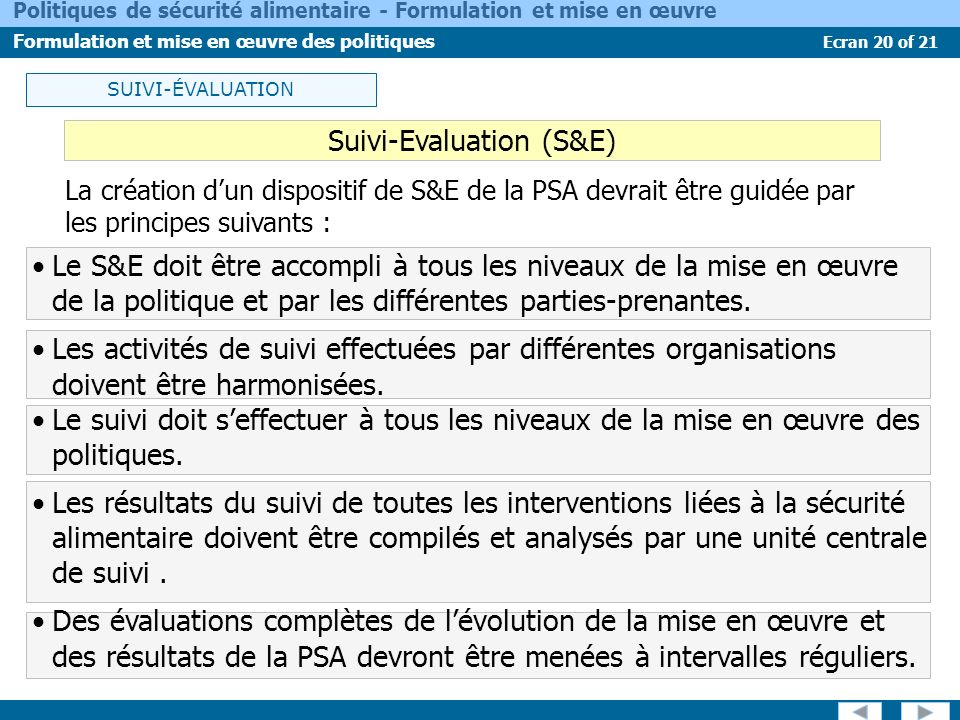 Suivi-Evaluation (S&E)