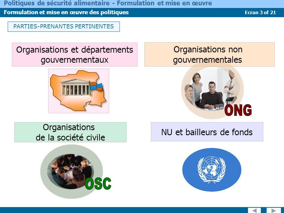 Organisations et départements gouvernementaux