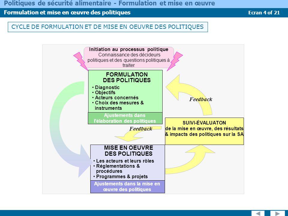 CYCLE DE FORMULATION ET DE MISE EN OEUVRE DES POLITIQUES