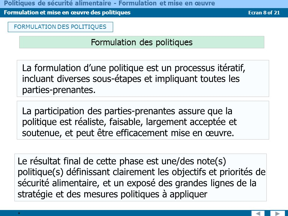 FORMULATION DES POLITIQUES