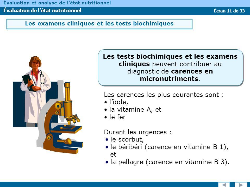 Les examens cliniques et les tests biochimiques