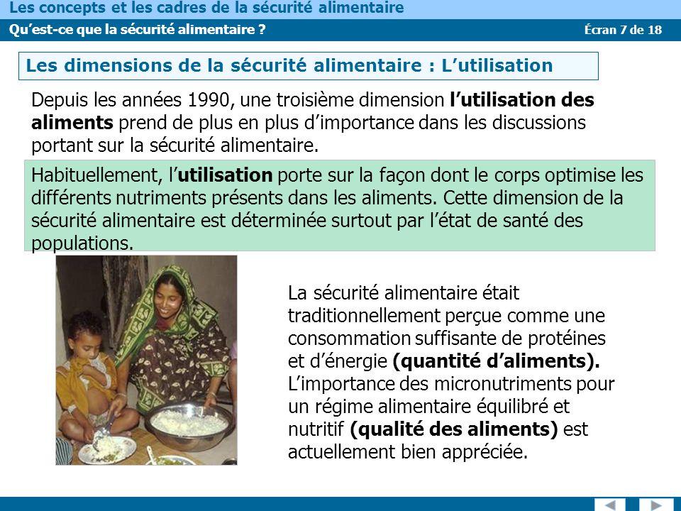 LES DIMENSIONS DE LA SÉCURITÉ ALIMENTAIRE – L'UTILISATION