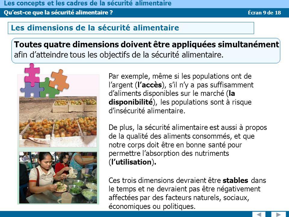 LES DIMENSIONS DE LA SÉCURITÉ ALIMENTAIRE