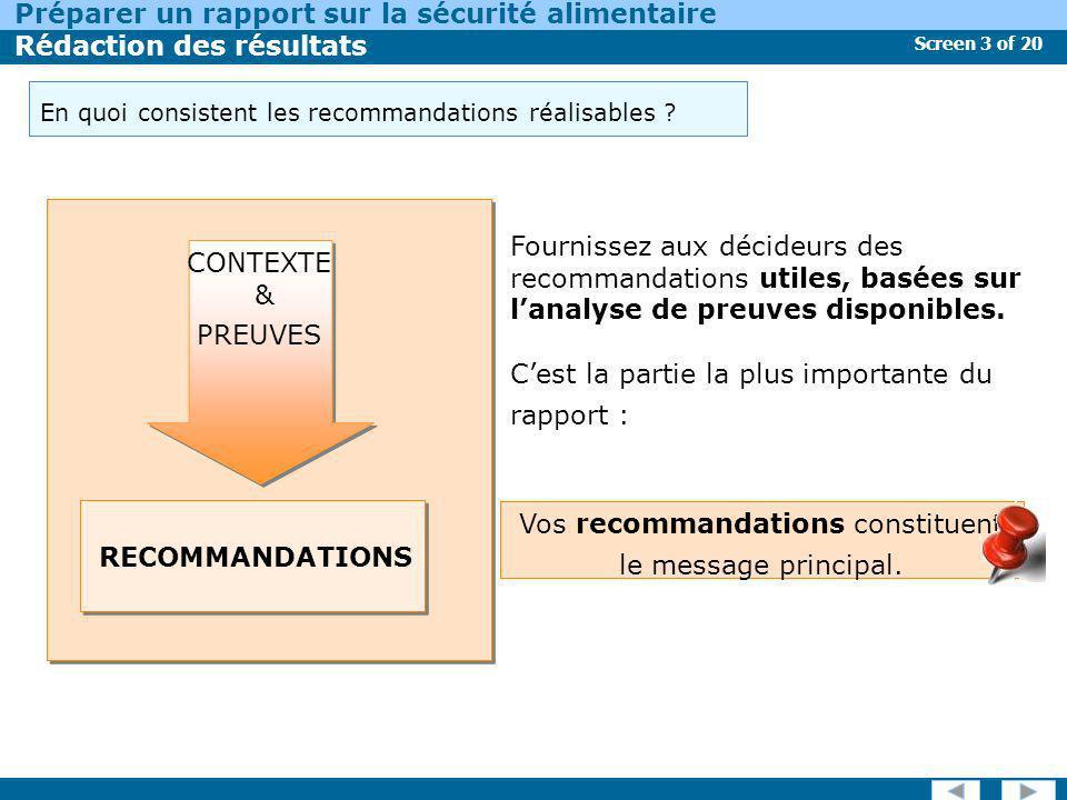 Vos recommandations constituent le message principal.