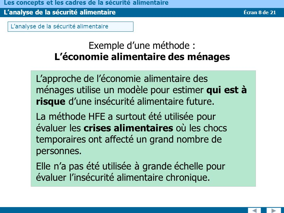 L'économie alimentaire des ménages