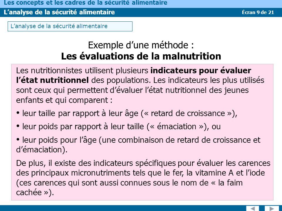 Les évaluations de la malnutrition