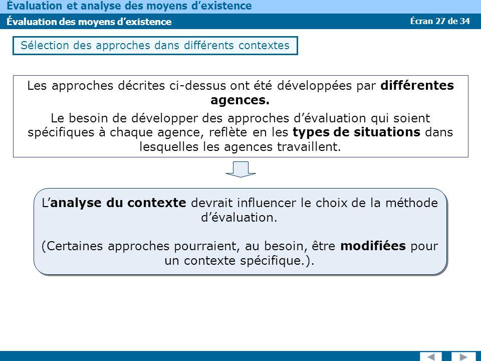 Sélection des approches dans différents contextes
