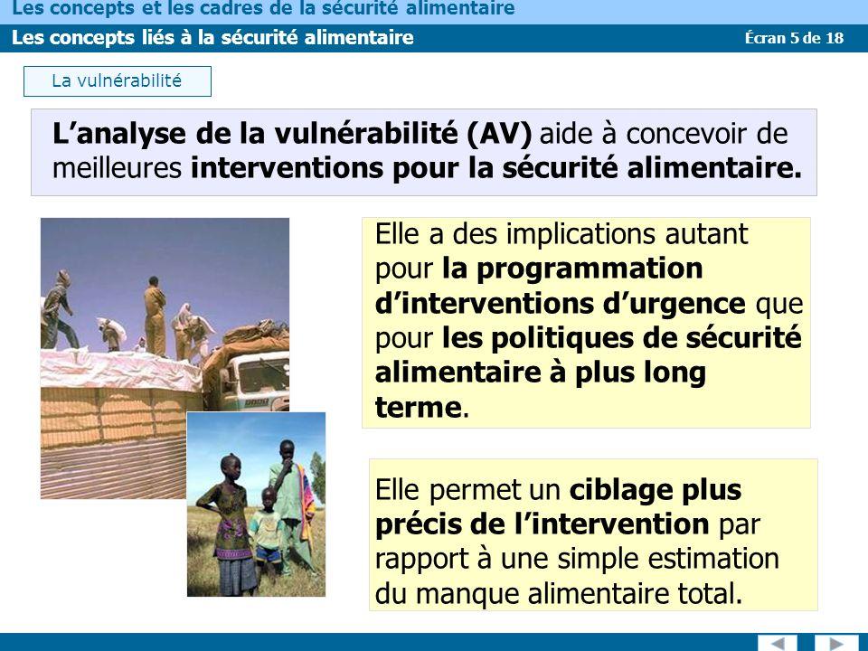 La vulnérabilité L'analyse de la vulnérabilité (AV) aide à concevoir de meilleures interventions pour la sécurité alimentaire.