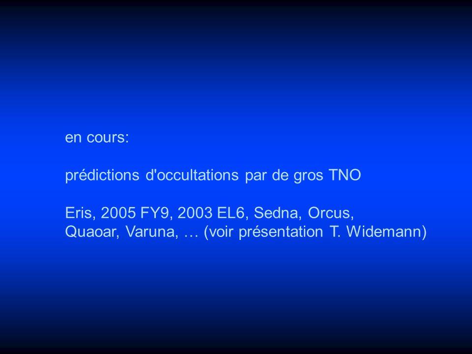 en cours: prédictions d occultations par de gros TNO.