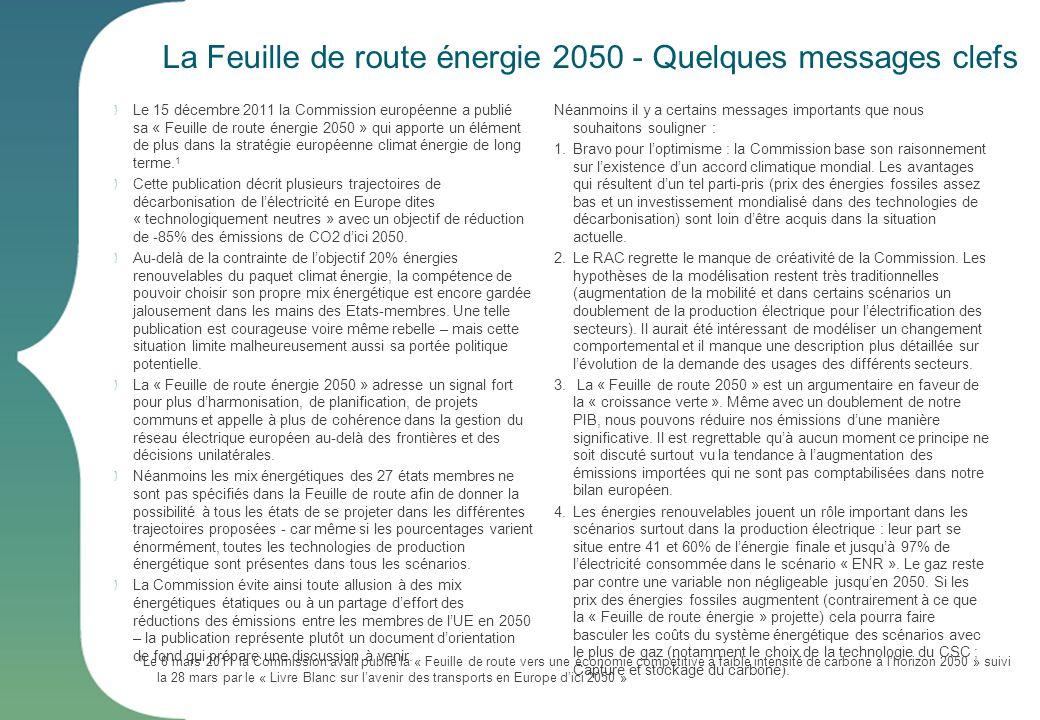 La Feuille de route énergie 2050 - Quelques messages clefs