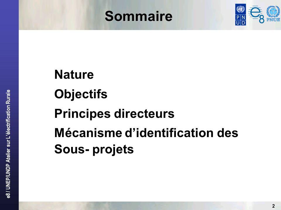 Sommaire Nature Objectifs Principes directeurs