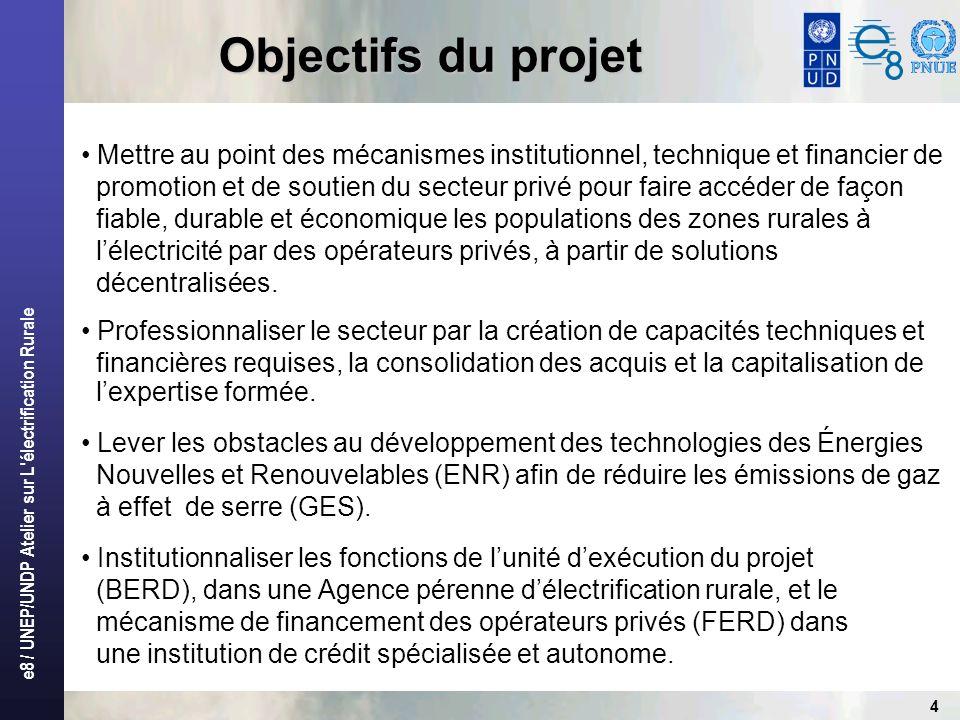 Objectifs du projet Mettre au point des mécanismes institutionnel, technique et financier de.