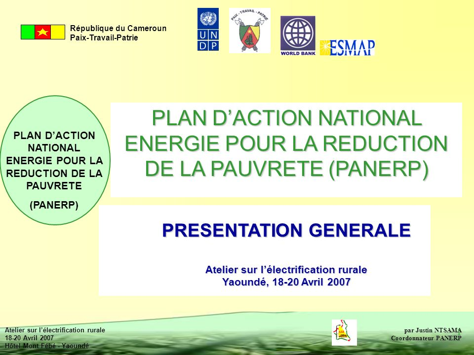 PLAN D'ACTION NATIONAL ENERGIE POUR LA REDUCTION DE LA PAUVRETE (PANERP)