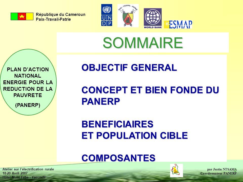 SOMMAIRE OBJECTIF GENERAL CONCEPT ET BIEN FONDE DU PANERP BENEFICIAIRES ET POPULATION CIBLE COMPOSANTES.
