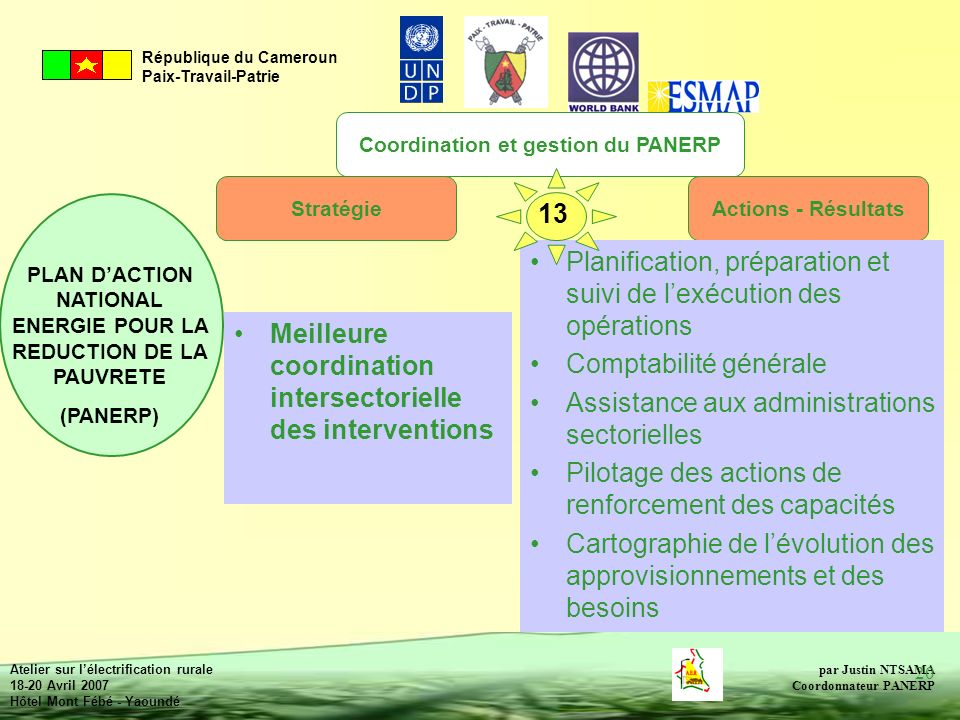 Coordination et gestion du PANERP