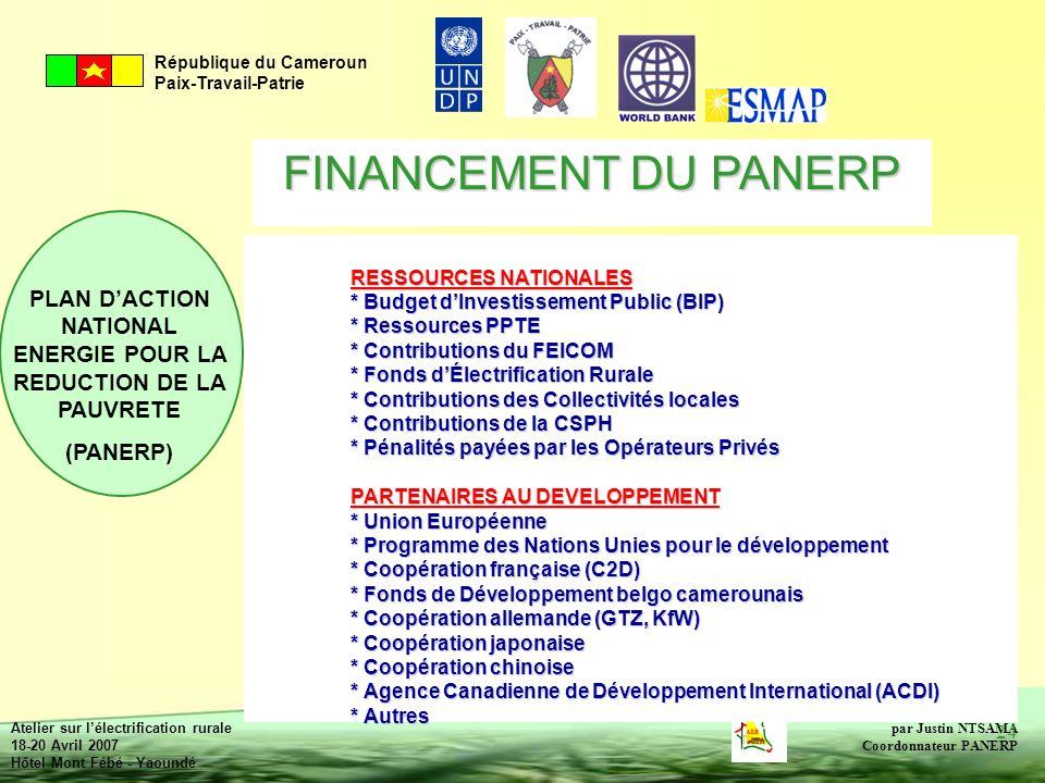 FINANCEMENT DU PANERP