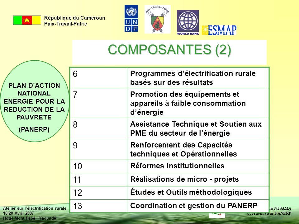 COMPOSANTES (2) 6. Programmes d'électrification rurale basés sur des résultats. 7.