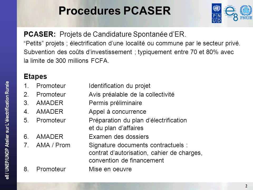 Procedures PCASER PCASER: Projets de Candidature Spontanée d'ER.