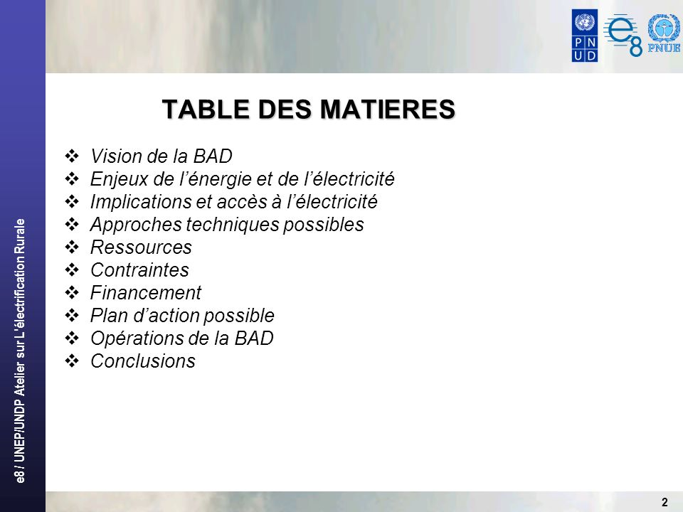 TABLE DES MATIERES Vision de la BAD