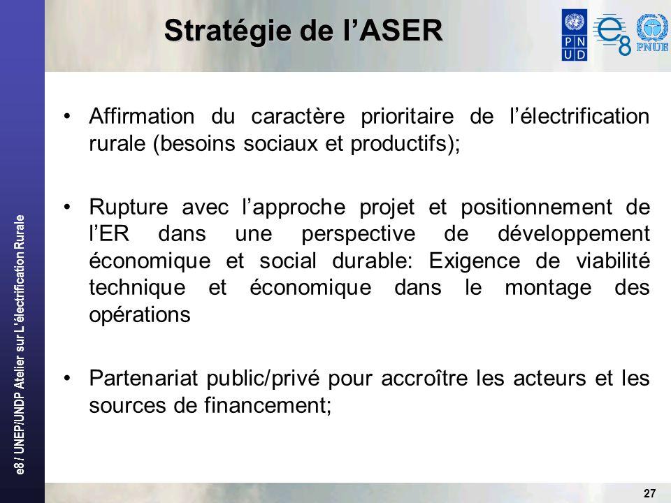 Stratégie de l'ASER Affirmation du caractère prioritaire de l'électrification rurale (besoins sociaux et productifs);