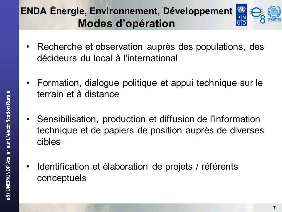 ENDA Énergie, Environnement, Développement Modes d'opération