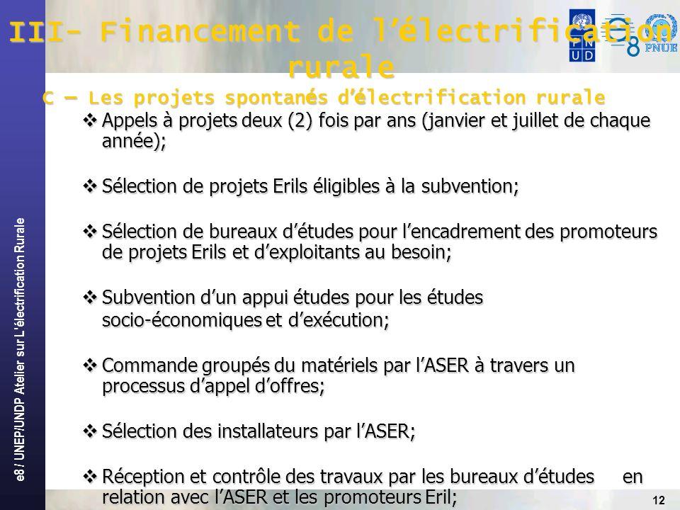 III- Financement de l'électrification rurale
