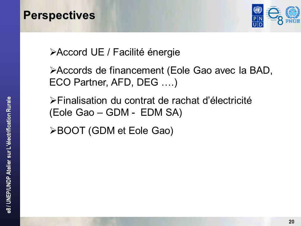Perspectives Accord UE / Facilité énergie
