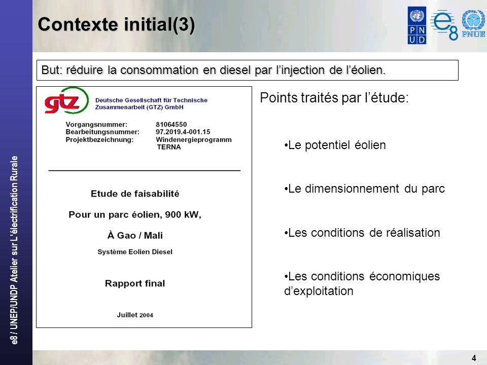 Contexte initial(3) Points traités par l'étude: